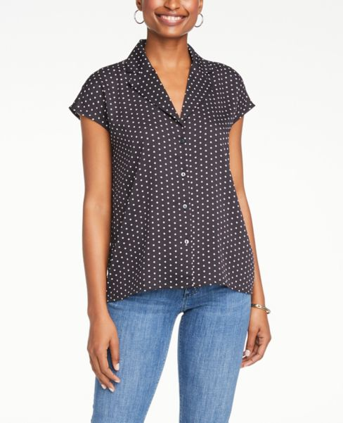 Ann Taylor Dotted Short Sleeve Button Down Shirt