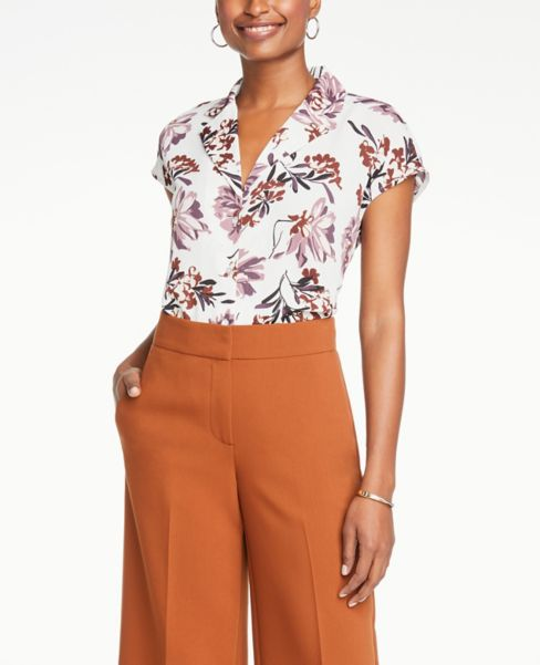 Ann Taylor Floral Short Sleeve Button Down Shirt