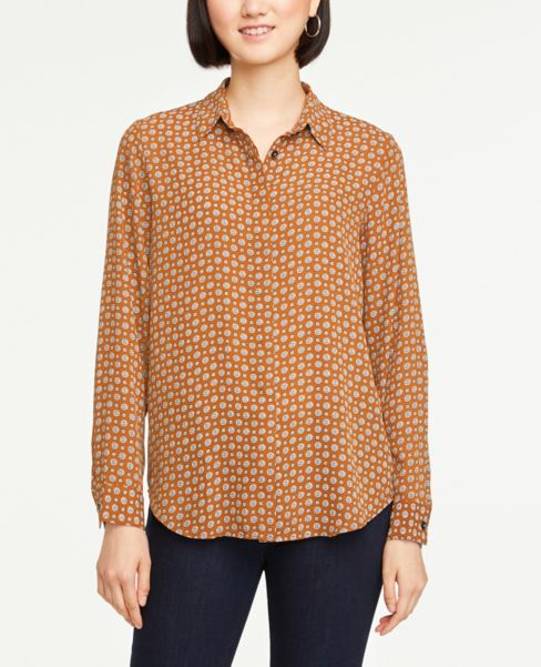 Ann Taylor Geo Soft Button Down Shirt