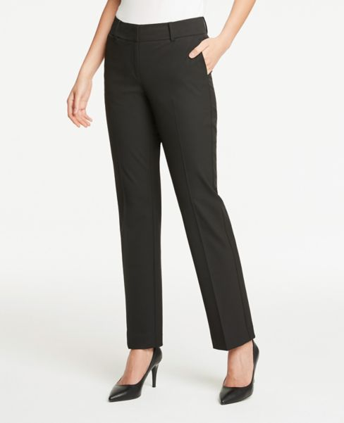 Ann Taylor Curvy Straight Leg Pants in Black