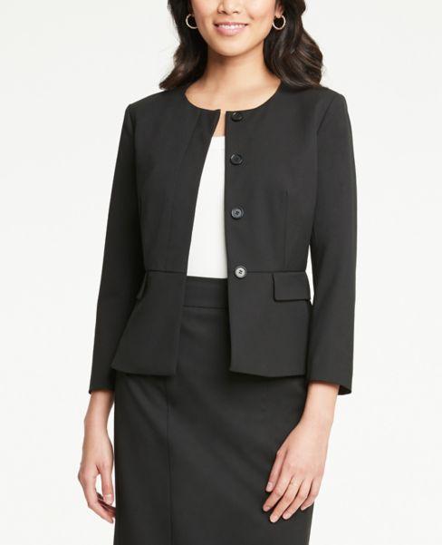 Ann Taylor Peplum Jacket in Black