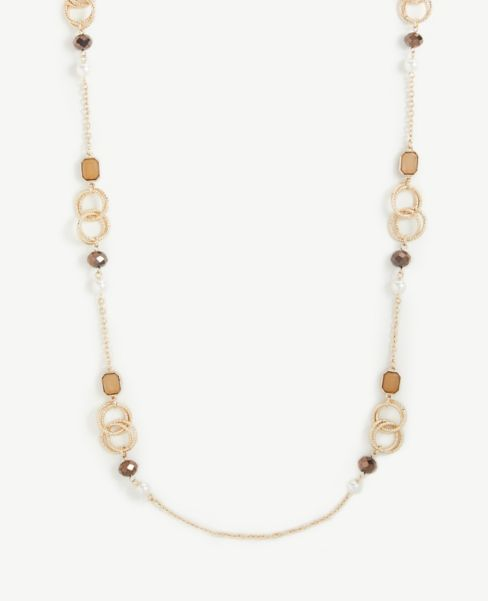 Ann Taylor Beaded Ring Illusion Necklace