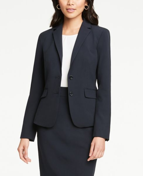 Ann Taylor Petite Two Button Jacket in Navy