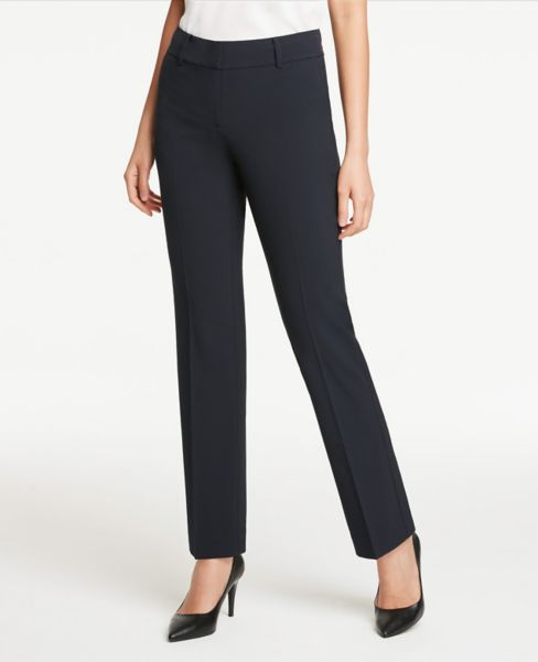 Ann Taylor Petite Signature Straight Leg Pants in Navy