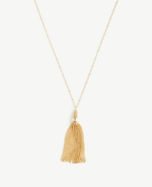 Ann Taylor Chain Tassel Necklace