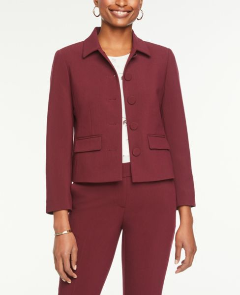 Ann Taylor Button Front Jacket in Burgundy