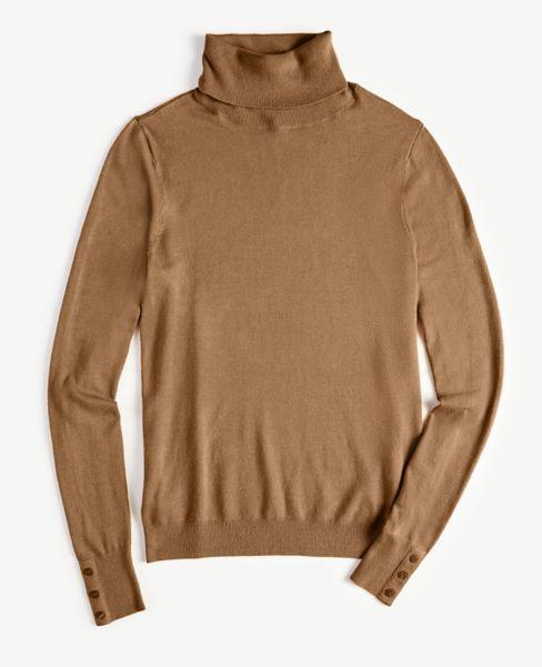 Ann Taylor Button Cuff Turtleneck Sweater