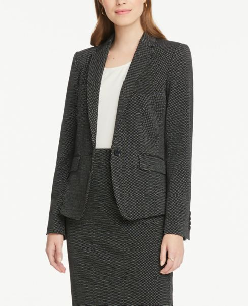 Ann Taylor Petite One Button Jacket in Dots