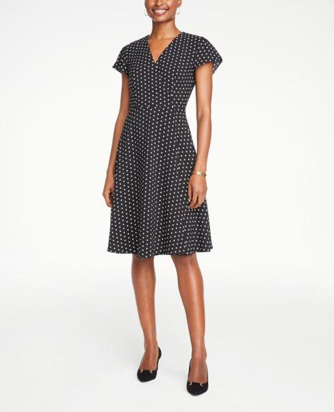 Ann Taylor Petite Dotted Wrap Dress