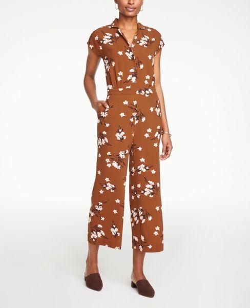 Ann Taylor Floral Button Jumpsuit
