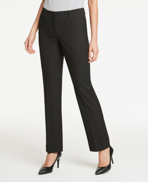 Ann Taylor Petite Signature Straight Leg Pants in Black
