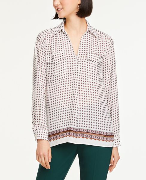 Ann Taylor Petite Border Modern Pocket Shirt