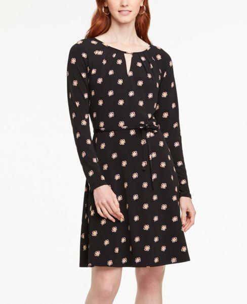 Ann Taylor Petite Floral Keyhole Flare Dress