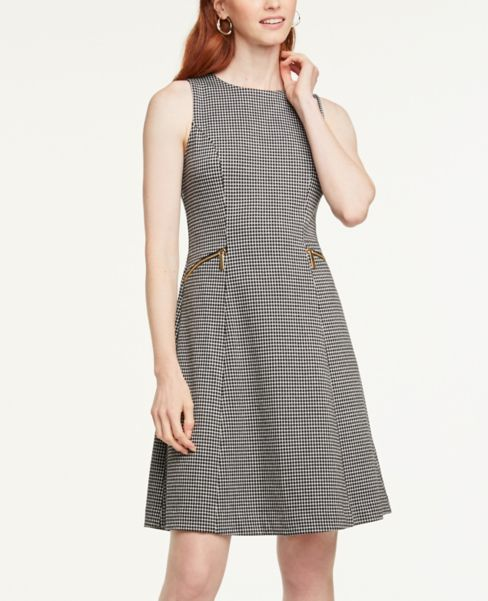 Ann Taylor Petite Plaid Zip Pocket Flare Dress