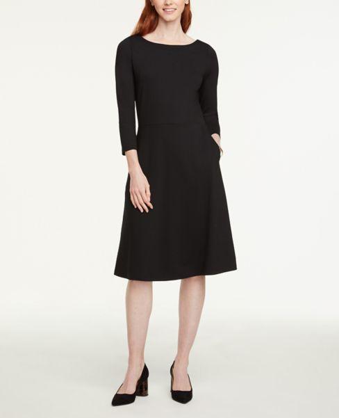 Ann Taylor Petite 3/4 Sleeve Flare Dress
