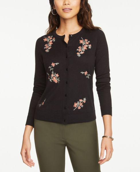 Ann Taylor Floral Embroidered Crew Neck Cardigan