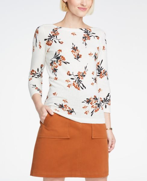Ann Taylor Floral 3/4 Sleeve Boatneck Sweater