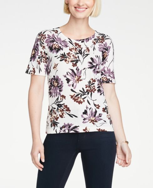 Ann Taylor Floral Sweater Tee