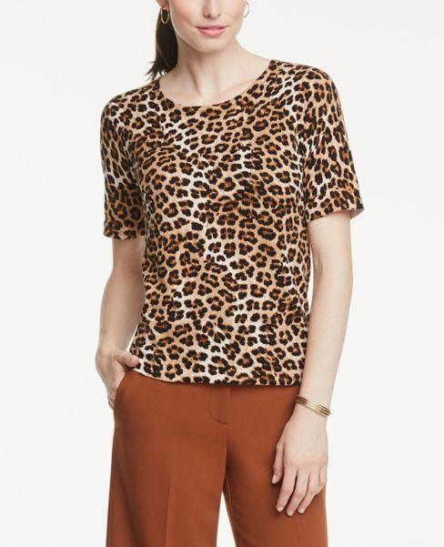 Ann Taylor Leopard Print Sweater Tee
