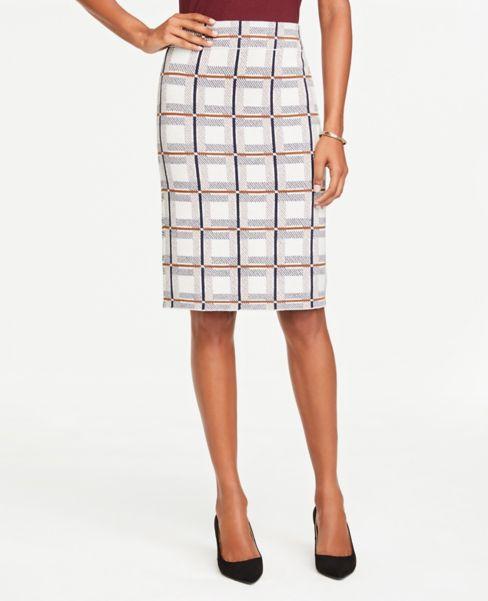 Ann Taylor Petite Plaid Long Pencil Sweater Skirt