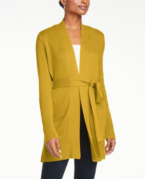 Ann Taylor Petite Belted Open Cardigan