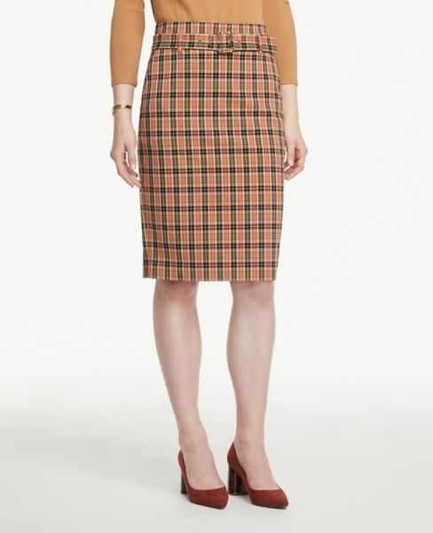 Ann Taylor Petite Plaid Belted Slit Pencil Skirt