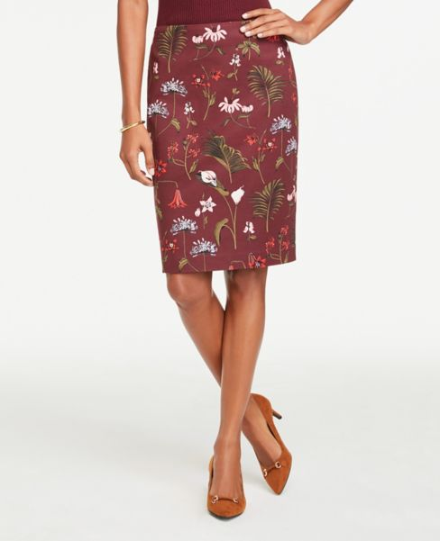 Ann Taylor Petite Floral Print Pencil Skirt