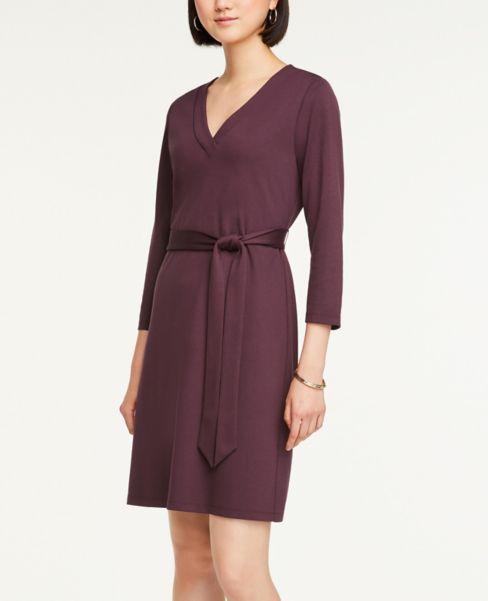 Ann Taylor Belted V-Neck Dress
