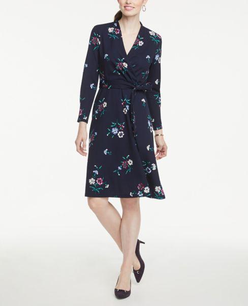 Ann Taylor Petite Floral Wrap Dress