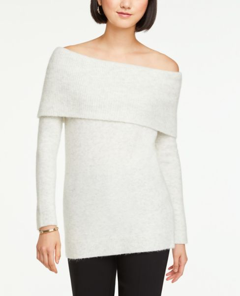 Ann Taylor Cozy Knit Off The Shoulder Sweater