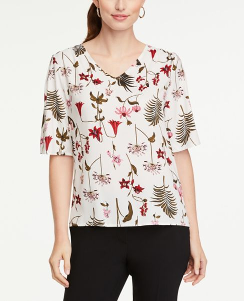 Ann Taylor Botanical Mixed Media Flutter Sleeve Top