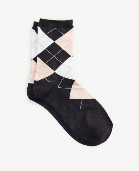 Ann Taylor Argyle Crew Socks