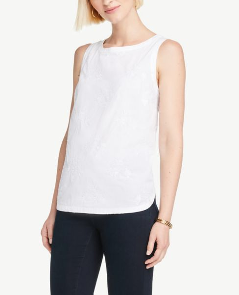 Ann Taylor Embroidered Shell
