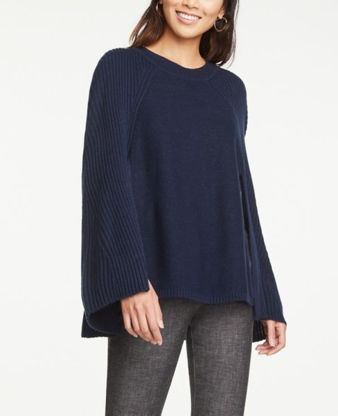 Ann Taylor Ribbed Cape Poncho