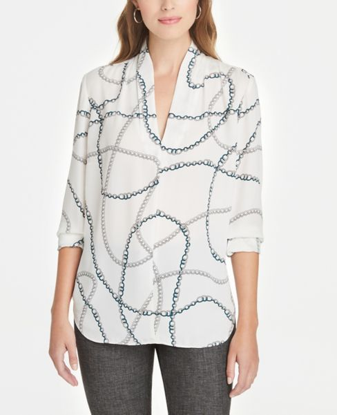 Ann Taylor Chain Print Pleated V-Neck Top