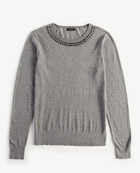 Ann Taylor Jeweled Crew Neck Sweater