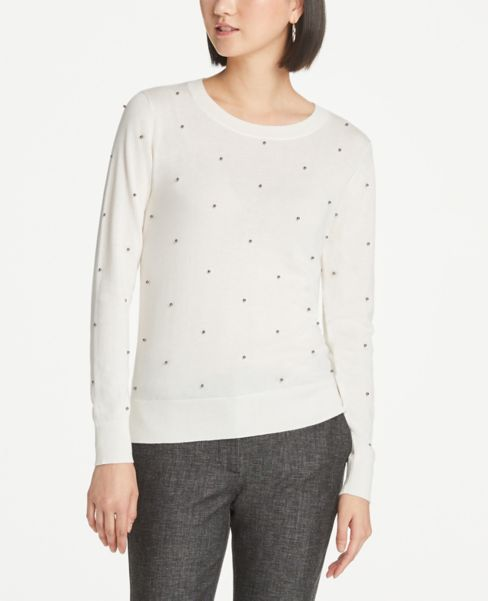 Ann Taylor Beaded Crew Neck Sweater