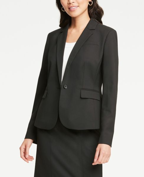 Ann Taylor Petite One Button Jacket in Black