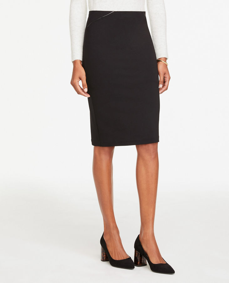 popular stores new images of best selling Faux Leather Trim Pull On Pencil Skirt