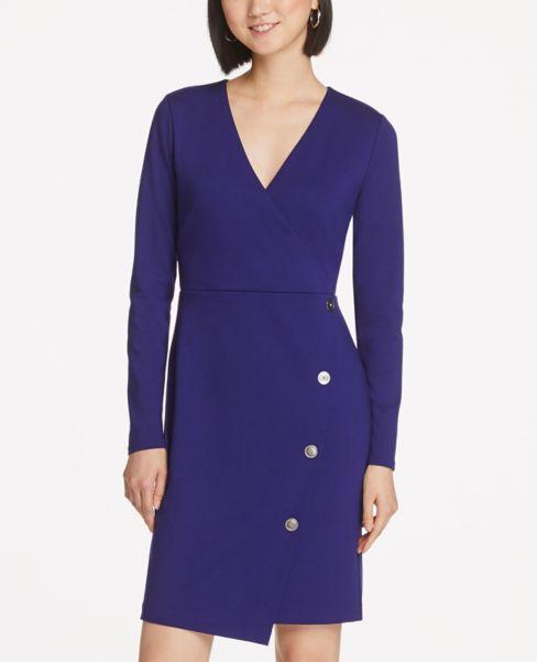 Ann Taylor Button Trim Wrap Dress