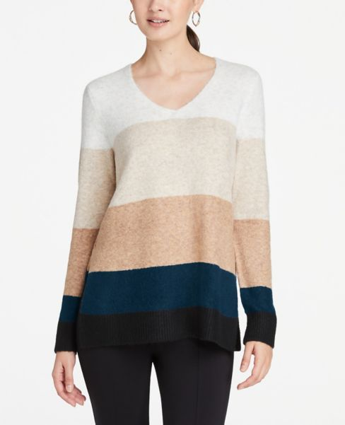 Ann Taylor Striped Cozy Knit V-Neck Tunic Sweater