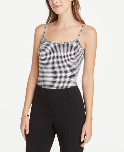 Ann Taylor Houndstooth Scoop Neck Cami