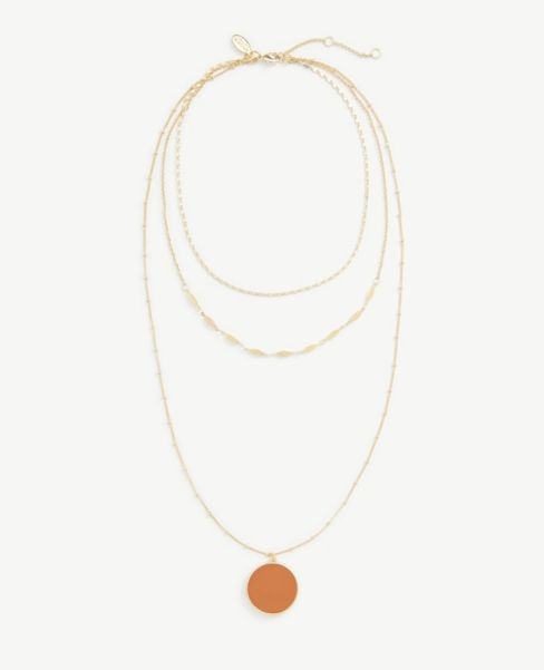 Ann Taylor Enamel Disc Layered Necklace