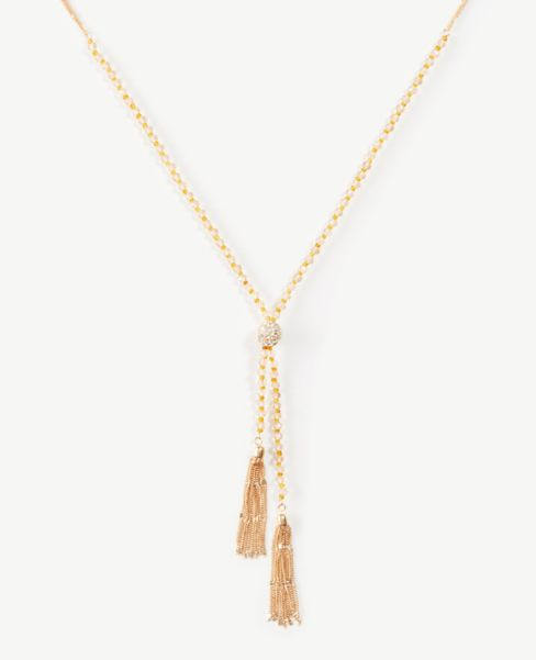 Ann Taylor Beaded Tassel Necklace