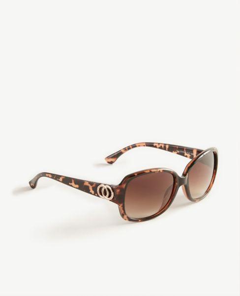 Ann Taylor Pave Ring Tortoiseshell Print Square Sunglasses