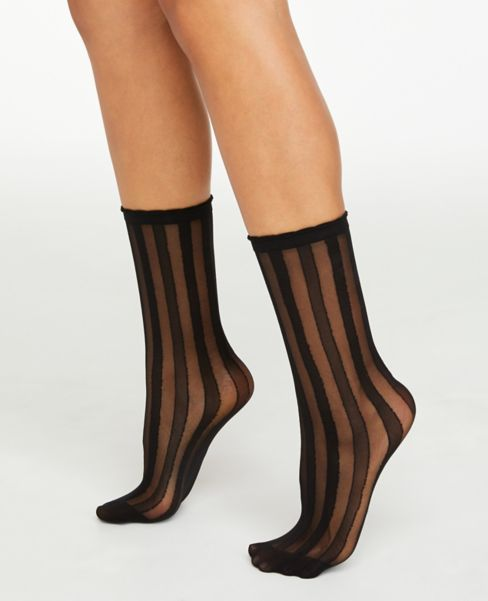 Ann Taylor Striped Sheer Crew Socks