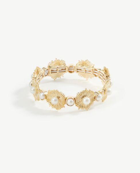 Ann Taylor Pearlized Floral Stretch Bracelet