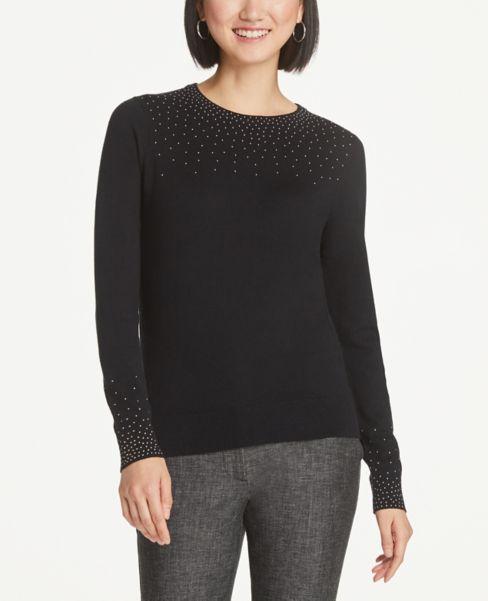 Ann Taylor Beaded Yoke Sweater
