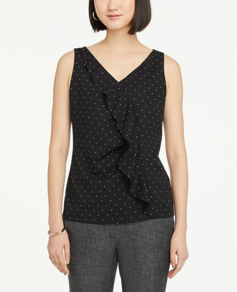 Ann Taylor Dotted Ruffle V-Neck Shell