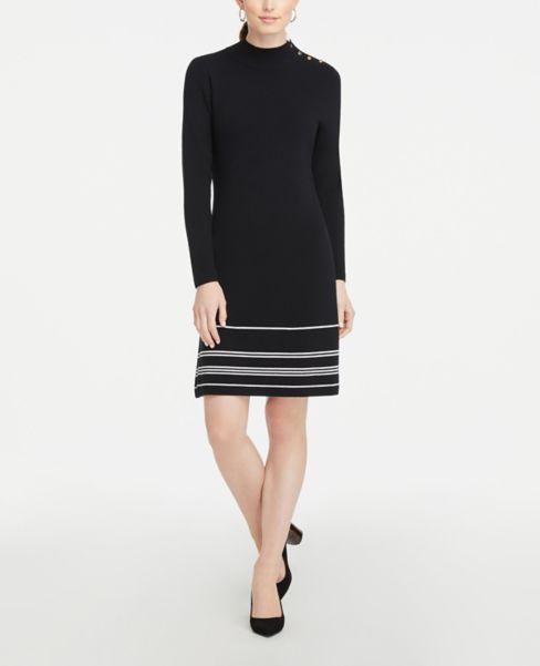 Ann Taylor Striped Shoulder Button Sweater Dress